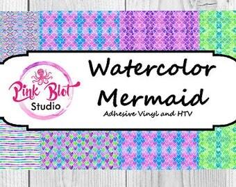 Mermaid Pattern vinyl, , watercolor. custom printed vinyl, adhesive vinyl, heat transfer vinyl, Lilly Vinyl,printed HTV, Glitter or ADHESIVE