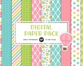 50% OFF SALE! Hot Air Balloon Digital Paper, Spring Background Paper - Commercial Use, Instant Download