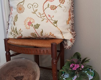 Floral Decorative Pillow with Ball Trim
