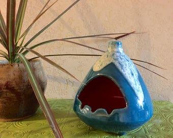 Vintage 60s ashtray 1960s ceramic pottery ashtray incense burner blue GW 1967