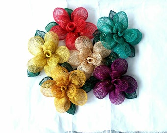 Handmade Abaca 5 inch Artificial Rose Flower Brooch Corsage - Various Colours (505379)
