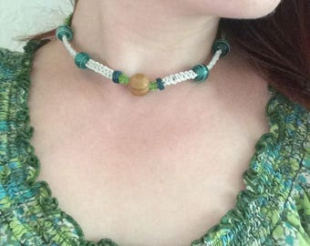 Green and White Hemp Beaded Necklace