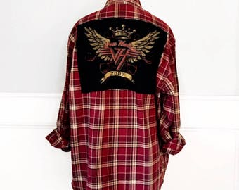 Van Halen Flannel Tee Van Halen 2007 concert T shirt on the back of a vintage red LL Bean red plaid flannel Men's Size M Unisex
