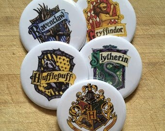 Hogwarts house crests ravenclaw, slytherin, hufflepuff, gryffindor pinback buttons 2.25 inch