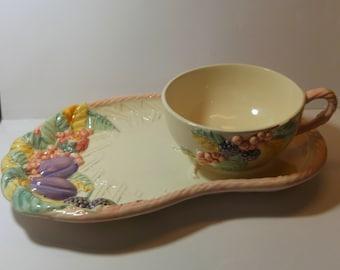 Vintage British Tea Set/Tennis set raised summer fruits design