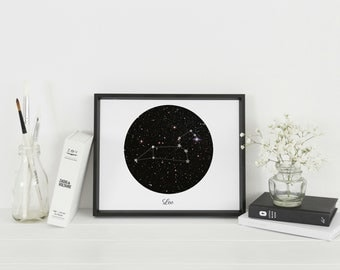 Framed Leo Star Sign Wall Art | Leo Constellation | Astrology Gift | Personalised Gift | A4 & A3 Sizes available