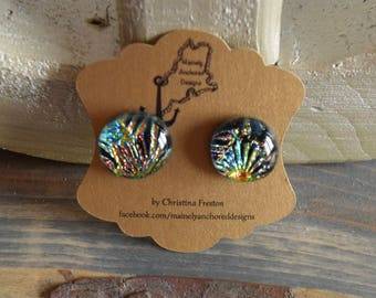 Firework Color- Fused Glass Earrings