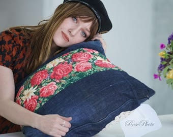 Hand worked denim pillow with rose flowers,