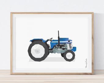 Tractor Nursery, Tractor Print, Transportation Wall Art, Boys Room Art, Playroom Decor, Tractor Printable, Vehicle Decor, Instant download