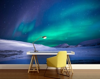 Polar light wallpaper, night mountain  wall mural, galaxy wall mural, green light, mountains wall mural, aurora borealis wall mural,