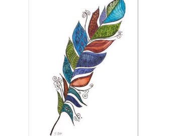 Watercolor Feather Painting, pen and ink, Feather Art, Zentangle art, Original Feather Art,  Boho home decor or nursery. great gift