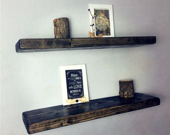 rustic black ebony floating shelves by the falling tree set of two2 wooden