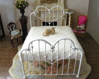 "Artisan Made Dollhouse Miniature Wrought Iron Look Bed ""CAROLINE""  1:12 Scale Twin and Full, Half Scale"
