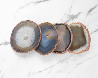 Copper Plated Natural Agate Coasters