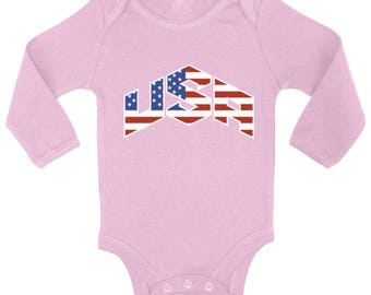 USA Flag Inside Baby Long Sleeve Bodysuits One Piece  USA Bodysuit Tops Independence Day American Flag  America