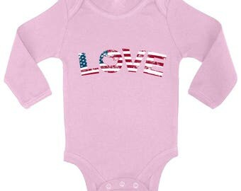 Love USA Flag Patriotic Baby Long Sleeve Bodysuits Tops Bodysuit USA Stars and Stripes American 4th of July
