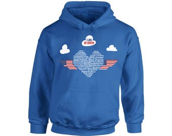 USA I Love My Country Hoodie  USA Hooded Sweatshirts Heart  USA Flag  4th of July