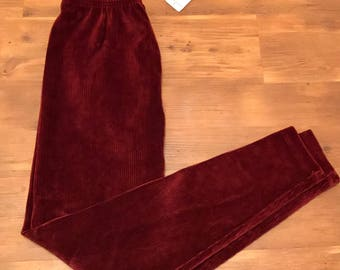 Vintage Jones wear Corduroy stretch Pants New with tags XL Burgundy red 90's