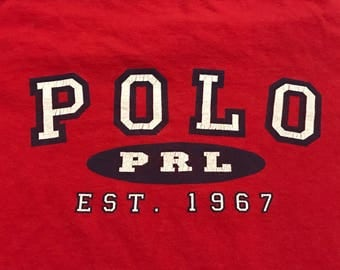 Vintage Polo Sport T-shirt Red and black 90's PRL Spellout across front Size large unisex vintage tommy Polo ski