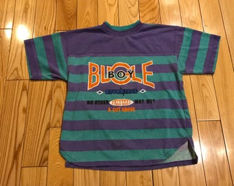 Vintage Bugle Boy T-shirt youth size 6-8 Purple blue orange stripes 90's vintage Nike supreme kids christmas gift
