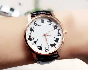 Cat Lover Watch,Crazy Cat Lady Gift | Funny Gift for Cat Lover | Gift for Wife | Funny Cats Art Watch | FREE SHIPPING
