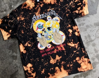 Metallica bleached t shirt color black heavy metal