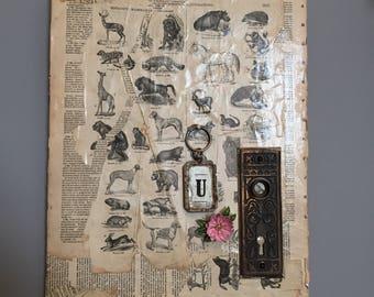 Vintage Canvas ll Eclectic Canvas ll Vintage Encyclopedia Page ll Vintage Floral Brooch