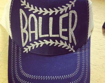 Baller-Baseball Hat-Trucker Style-Custom Hat-New Glitter
