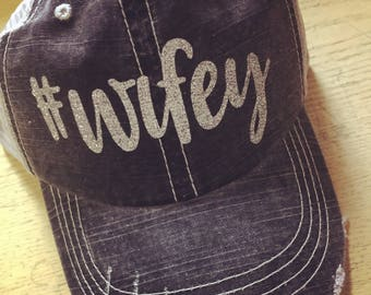 WIFEY Custom Distressed Trucker Hat-New-Silver Glitter