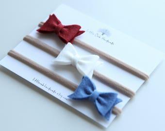 Set of 3 Wool Felt Bow Headband - Red, White, Blue - Baby Headband - Nylon Headband