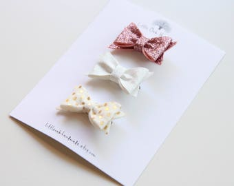 Set of 3 Wool Felt Bow Hair Clips - Rose Pink Glitter, Iridescent White Glitter, Gold Dots - Baby Bow - Hair Clip