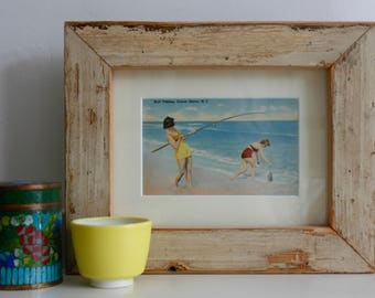 Surf Fishing vintage postcard in handmade frame