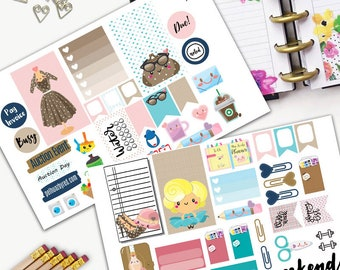 Fashion Planner Girl Blue Kawaii Theme Planner Weekly Sticker SMALL Kit, CLASSIC Happy Planner Sticker, Weekly Set, Stickers, Printed, Cut