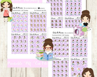 Two Dollar Tuesday Functional Girls2 LIGHT Printable Planner Stickers/Weekly Kit/for Use with Erin Condren/Cutfiles Fall September TN Glam