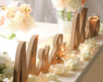 Large Mr and Mrs Signs for Wedding Sweetheart Table Decor/Unpainted Mr and Mrs Letters/Mr and Mrs Wooden Sign/Mr and Mrs Wedding Gift