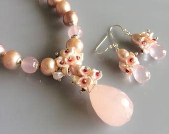 Freshwater Pearls, Pink Chalcedony and Rose Quartz Cluster Pendant Necklace