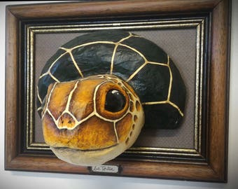 UNIQUE piece available - Trophy decorative hand made turtle head.