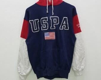 Vintage U.S Polo Association Hoodie USPA Big Logo Embroidery Colourblock Nice Design