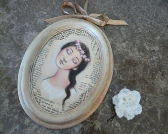 """cadre ovale peinture """"La Reine des fleurs"""", barette fleur blanche au crochet / romantique jeune fille avec couronne de fleurs"""