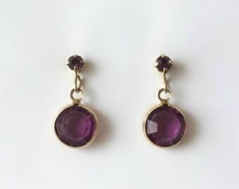 Vintage 1950's Gold Purple Lucite Removable Studs Dangle Drop Dainty Earrings