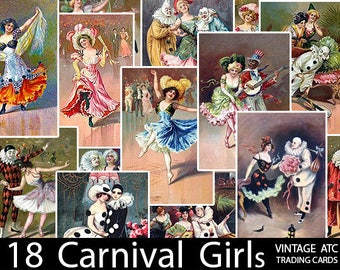 "Vintage Carnival Girls/ 2""x3"" Images/ Tags: ATC Digital Collage Sheet Retro Antique Art Clown Circus Dancer Digital Download Mardi Gras Clip"
