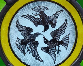 Three birds circular hand painted and stained leaded glass panel
