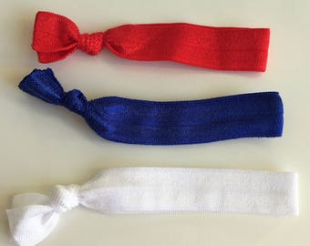 British hair ties, independence day hair ties, VE day hair ties, elastic hair ties, yoga hair ties, red, white and blue hair elastics