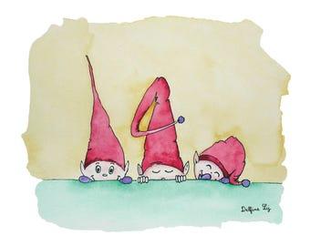 "Postcard size A6, ""Three little Elves"""