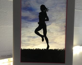 Runner at Sunrise (Female): Acrylic Painting on Stained Glass