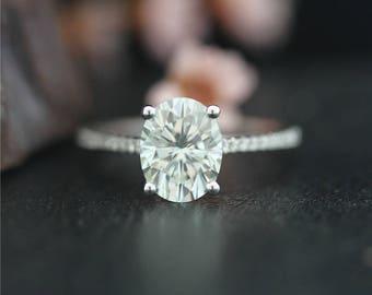Forever Classic Moissanite Diamond Ring 14K White Gold  6*8mm Oval Cut Moissanite Engagement Ring Diamond Wedding Ring Anniversary Ring