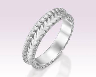 FREE SHIPPING - Unique white gold wedding band women, 14k textured wedding ring size 7, White matte gold band, 14k Hebrew ring