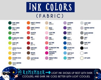 Additional ink colors! Your same design, but printed in a different color