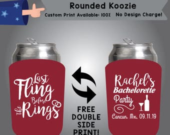 Last Fling Before The Ring Rounded Bachelorette Cooler Double Side Print (RK-Bachelorette02)
