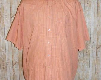 Size 2XL vintage 90s short sleeve button down collar shirt orange check (HQ32)